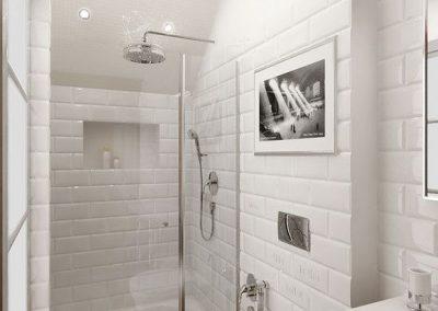 Baño blanco - Metro - suelo marrón