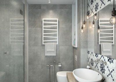Baño gris - Combinación pared con suelo ducha